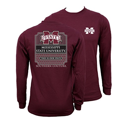 - Southern Couture SC Collegiate Preppy MSU Mississippi State on Long Sleeve Womens Classic Fit T-Shirt - Maroon, Small