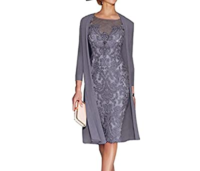 APXPF Light Pink Women's Mother of The Groom Dresses Tea Length with Jacket