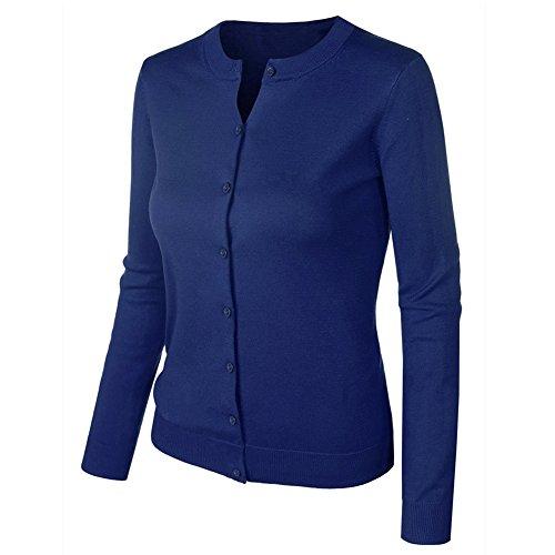 VOBAGA Mujer O-cuello Botón Chaqueta Cardigan casual Sueter Chaqueta Punto para Mujer Denim Blue