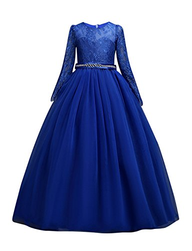 DOCHEER Fancy Girls Dress Tulle Lace Wedding Bridesmaid Ball Gown Floor Length Dresses for 4-14 Years (1023 Royal Blue, 4-5 Years) -