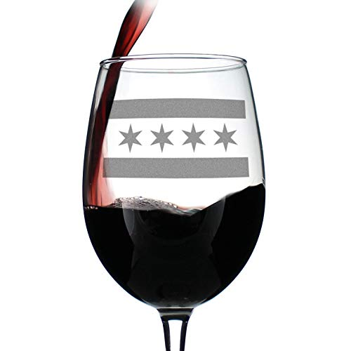 Chicago Flag - Cute Chitown Wine Glass, Large 16.5 Ounce Size, Etched Sayings, Gift Box