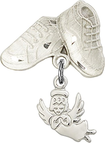 Sterling Silver Baby Badge Baby Boots Pin with Guardian Angel with Wings Charm, 3/4 Inch