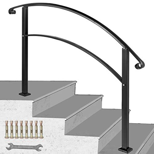 Happybuy 4-Step Adjustable Handrail Fits 1 or 4 Steps Matte Black Stair Rail Wrought Iron Handrail with Installation Kit Hand Rails for Outdoor Steps (Metal Railing Kits)