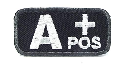 (Blood Type Patches - Mil-Spec Monkey BLACK (A POS))