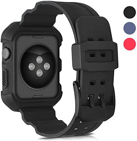 For Apple Watch Band 42mm with Case, Shock-proof and Shatter-resistant Protective Case with Soft Silicone Rubber Band for iWatch Series 3 Series 1, 2 & Sport & Edition - Black