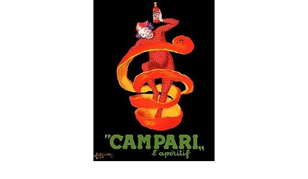 CAMPARI APERITIF ORANGE PEEL CLOWN DRINK ITALY CAPPIELLO VINTAGE POSTER REPRO