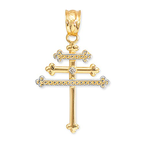 Petits Merveilles D'amour - 14 ct 585/1000 diamant or maronite araméen Croix Pendentif