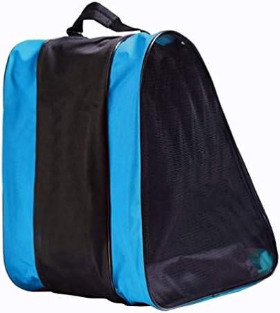 スケートバッグメッシュネットアイスローラースケートショルダーバッグキャリングバッグスケート用具の保管用の複数のポケット