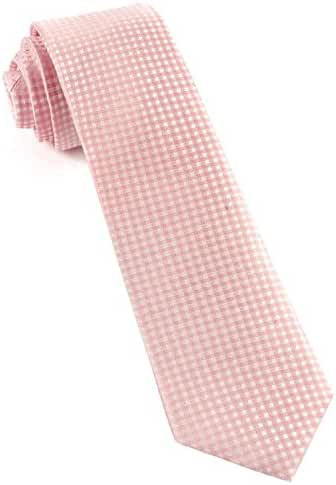 100% Woven Silk Be Married Checks Blush Pink Tie