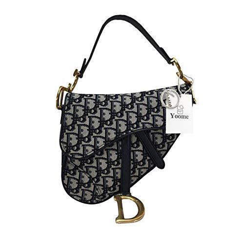 (Yoome Women Designer Saddle Shoulder Bag Rivet Top Handle Handbag Crossbody Clutch Purse - Grey)
