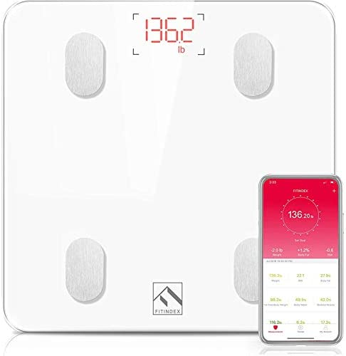 FITINDEX Bluetooth Body Fat Scale, Smart Wireless BMI Bathroom Weight Scale Body Composition Monitor Health Analyzer with Smartphone App for Body Weight, Fat, Water, BMI, BMR, Muscle Mass – White