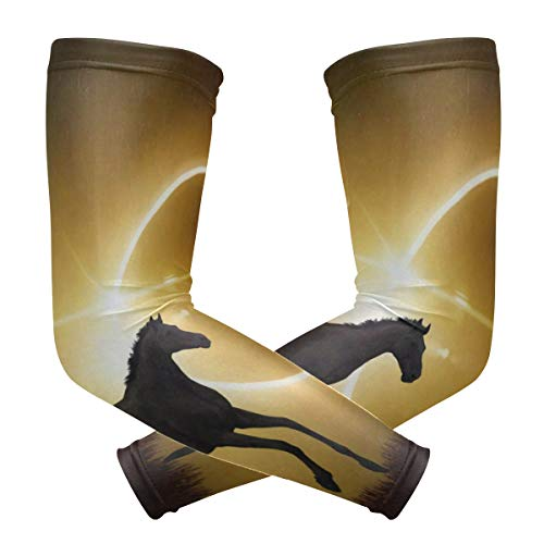 Arm Sleeves Black Horse Man Baseball Long Cooling Sleeves Sun UV Compression Arm Covers