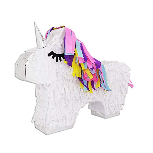 LYTIO Colorful Unicorn Pinata Full Body with Silver Details and Multicolored Hair (Unicornio Piñata) Ideal for Girl Birthday Parties, Fairytale and Fantasy Themed Celebrations Center P (White Unicorn)