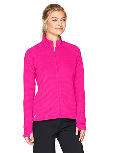 adidas Golf Women's Essential Textured Jacket, Large, Shock Pink