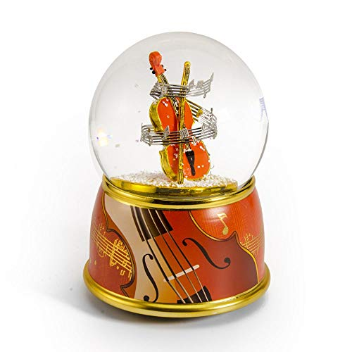 Music Theme Violin with Painted Base Musical Water/Snow Globe - Over 400 Song Choices - La Vie En Rose