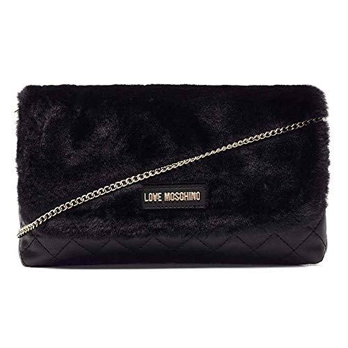 Borsa Black Nappa Nero Pu Love Clutch Quilted polies Moschino Women's gEvp4