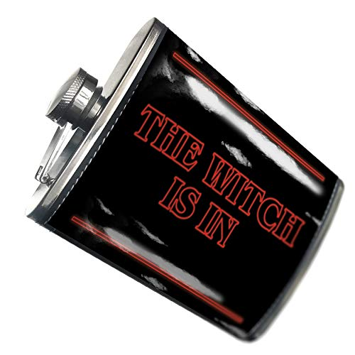 NEONBLOND Flask The Witch Is In Halloween Strange and Spooky Hip Flask PU Leather Stainless Steel -