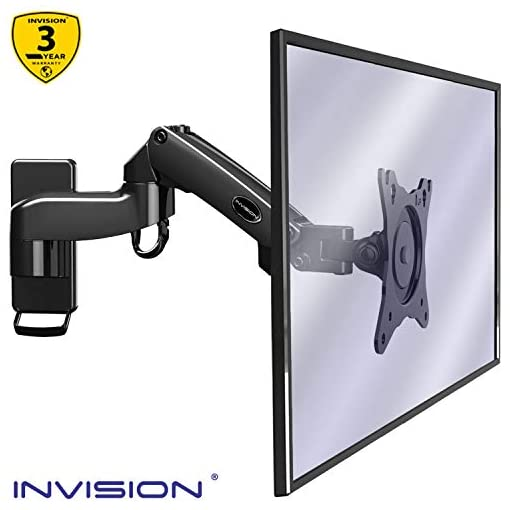 Invision Monitor Arm Wall Mount Bracket for PC Monitor & TV – To Fit Screens 17 to 27 inch, Ergonomic Height Adjustable Single Arm Tilt Swivel & Rotate, VESA 75x75mm & 100x100mm, Weight 2-7kg [MX250]