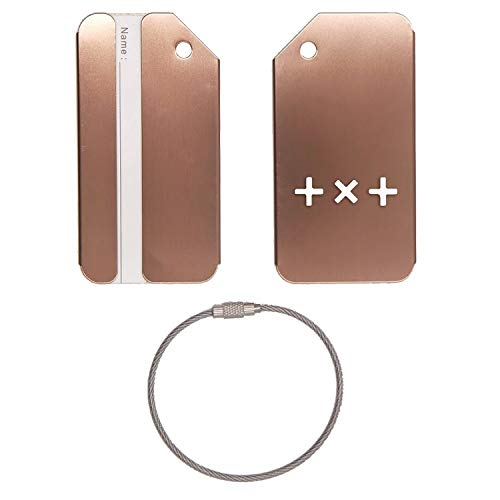 TXT LOGO 2 STAINLESS STEEL - ENGRAVED LUGGAGE TAG (COFFEE) - UNITED STATES MILITARY STANDARD - FOR ANY TYPE OF LUGGAGE, SUITCASES, GYM BAGS, BRIEFCASES, GOLF BAGS