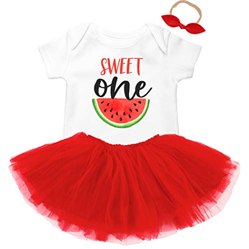 (Sweet One Watermelon First Birthday Bodysuit Outfit with Tutu for Baby Girls First Birthday 3 Piece Set)