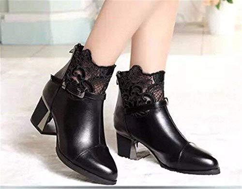 Martin Shoes Eu 's Corto De Botas Con Sed Back All Cordones Mujer match 37 Tubo Gruesos Boots Zipper PBZtwTx