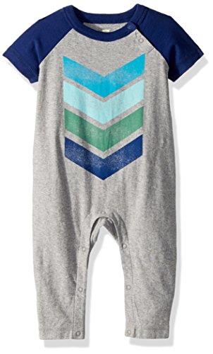 - Tea Collection Baby Boys' Chevron Graphic Romper, Medium Heather Grey, 12-18