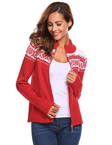 Zeagoo Women's Fashion Full Zip Christmas Knitted Casual Sweater Jacket Red Small (Holiday Jacket Womens)