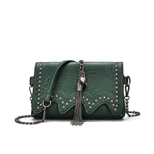 Sac PU Chaîne Main Green Bag Sac Womens Rivet à Mode DHFUD à Messenger Bandoulière wfq6xWTX