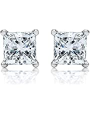 Square Cubic Zirconia White Gold Plated Earrings Stud For Women