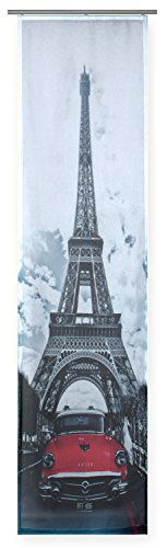 Flächenvorhang bedruckt ca. 60x245 Schiebegardine halbtransparent Gardine Paris