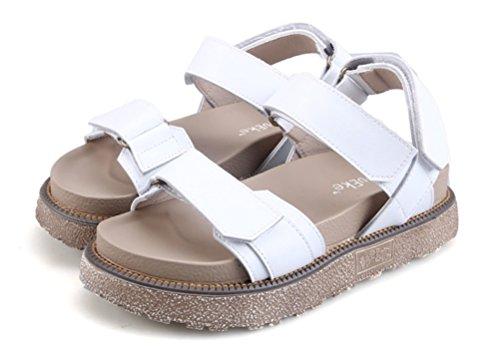 Nvxie Punta Mujer Verano Abierta Plano Sandalias Tobillo Correa Casual Zapatos Comodidad White Playa rrq8SwUO