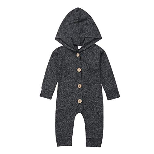 Seyurigaoka One Piece Outfits Baby Grey Striped Rompers with Button Kids Sleeveless Playsuit Jumpsuits Pants Cotton Clothing (Black Hooded Romper, 18-24 Months)