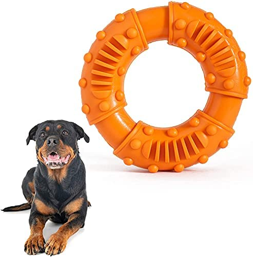 Medium Large Dog Chew Toy, Indestructible Durable Teeth Cleaning Chew Toys for Aggressive Chewers, Strong Tough Rubber Ring Interactive Dog Toys – Orange