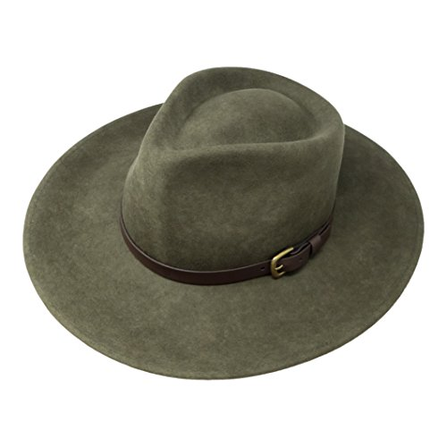 B&S Premium Lewis - Wide Brim Fedora Hat - 100% Wool Felt - Water Resistant - Leather Band - Olive Green 56