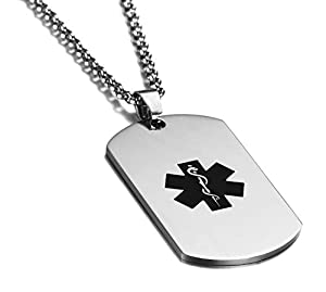 JF.JEWELRY Stainless Steel Dog Tag Medical Alert Necklace for Women & Men,Free Engraving,24 inch