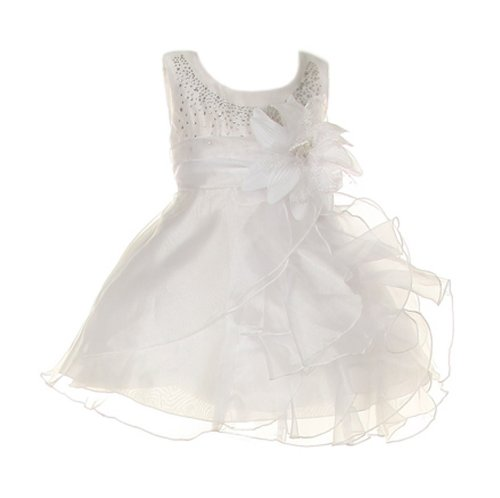 Cinderella Couture Baby Girls Cascading Organza Dress White Med 12M (B1101)