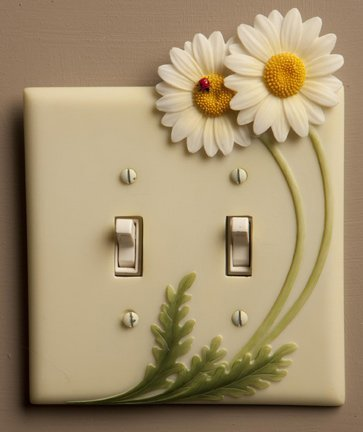 Daisies & Ladybug - Hand Painted Double Switchplate Cover - Double Pole Style - Ibis & Orchid Design (Design Double Switchplate)