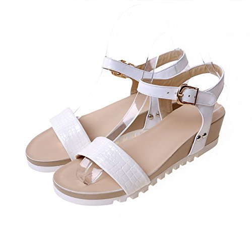 AmoonyFashion Womens Solid Cow Leather Low-Heels Open Toe Buckle Sandals White zJRfcCFchy