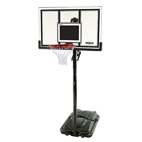 Lifetime 71524 XL Height Adjustable Portable Basketball System, 54 Inch Shatterproof Backboard (Height Of A Basketball Hoop High School)