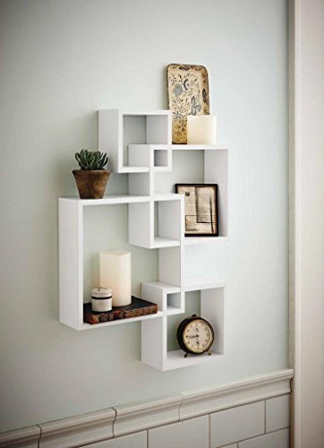 Review Shelving Solution Intersecting Squares Floating Shelf ,2 LED Candles Included By SHELVING SOLUTION by SHELVING SOLUTION