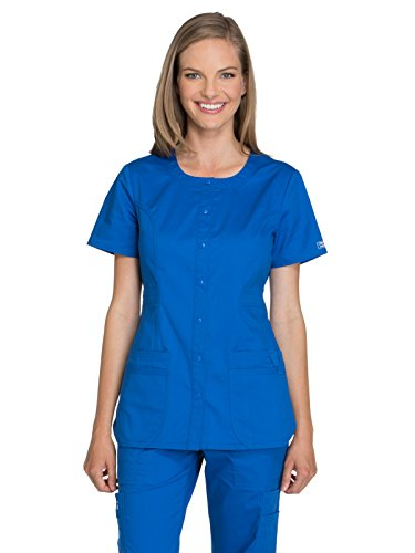Cherokee Workwear Core Stretch WW683 Round Neck Top Royal M
