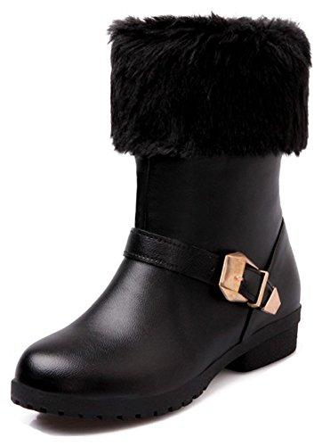 Aisun Kvinna Varm Spänne Rem Dressat Rund Tå Vintern Boots Dra Chunky Låg Klack Snö Tossor Svart