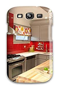 Top Quality Case Cover For Galaxy S3 Case With Nice Kitchen With Red Backsplash And Refurbished Glass Chandelier Appearance