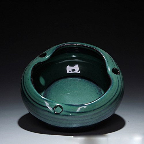 OLQMY Handmade coarse pottery tea accessories, ashtray creative personality, antique ashtray ornaments are glaze.