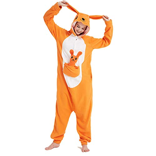 Cartoon Animals Onesies Polar Fleece Women Men Couple Pajama Festival Party Jumpsuit Kangaroo S ()