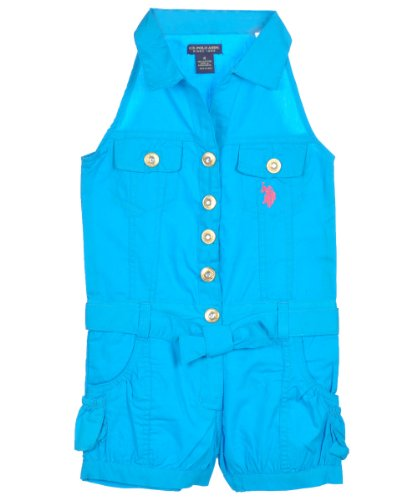 Blue Collared Romper - US Polo Assn Girls S/S Surf Blue Collared Romper (6X)
