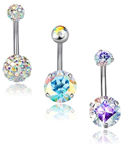 REVOLIA 3Pcs 14G Stainless Steel Belly Button Rings for Women Girls Navel Rings CZ Body Piercing Crystal Belly Button Navel Ring