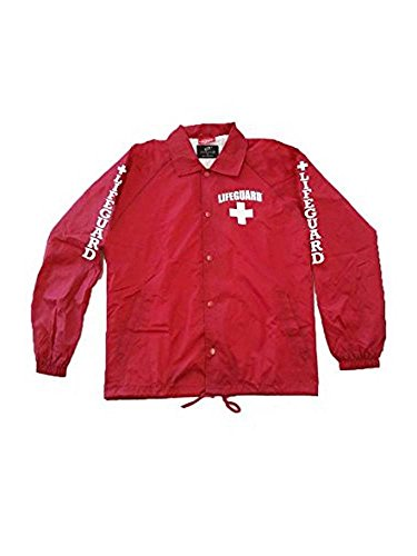 LIFEGUARD Officially Licensed Snap Button Coach's Jacket Water Resistant (XXL, Red)