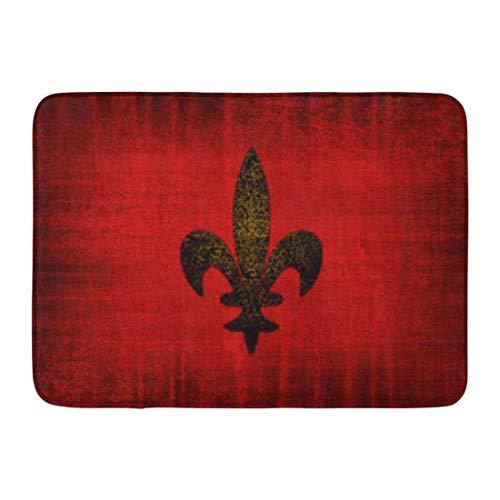 Bath Mat Look Medieval Red Velvet Fleur Lis Old Gold Bathroom Decor Rug