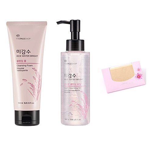 The Face Shop Rice Water Bright Set(Cleansing Oil + Cleansing Foam) + SoltreeBundle Natural Hemp Paper 50pcs